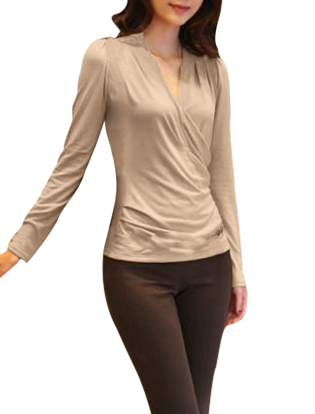 Ladies Apricot Crossover V Neck Pullover Pure Casual Tee Shirt XS