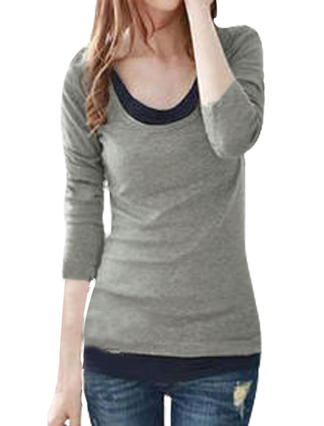 Ladies Light Gray Scoop Neck Casual Layered Tops Shirt XS