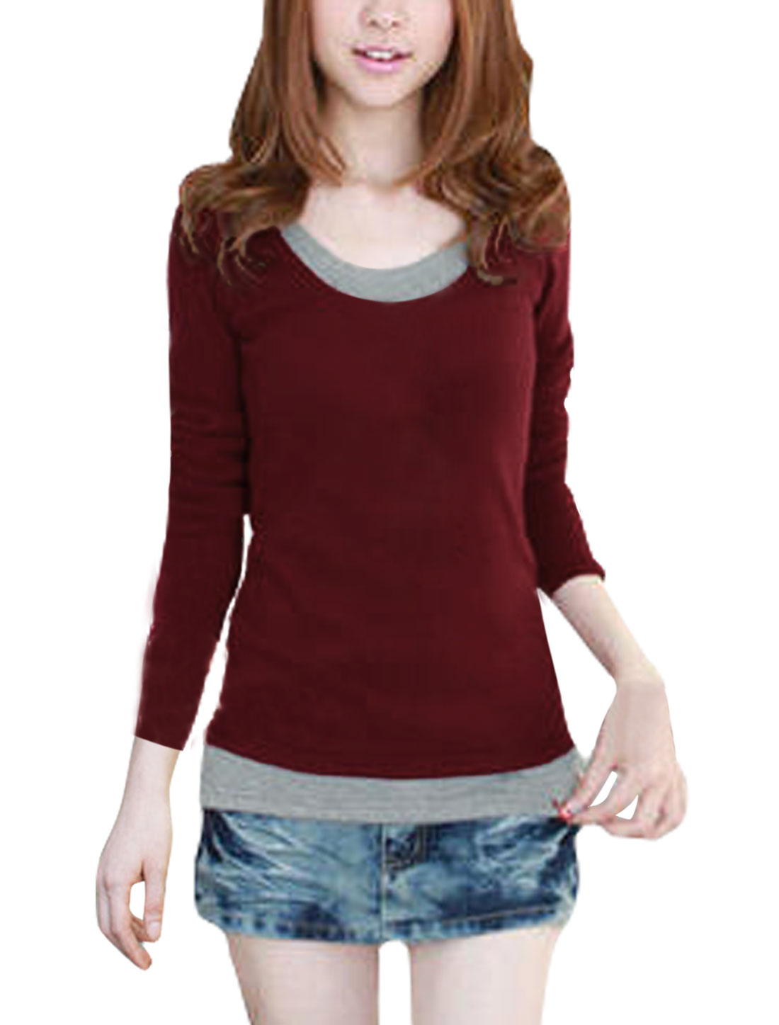 Ladies Claret Red Layered Tops Autumn Pullover Stretchy Tee Shirt XS