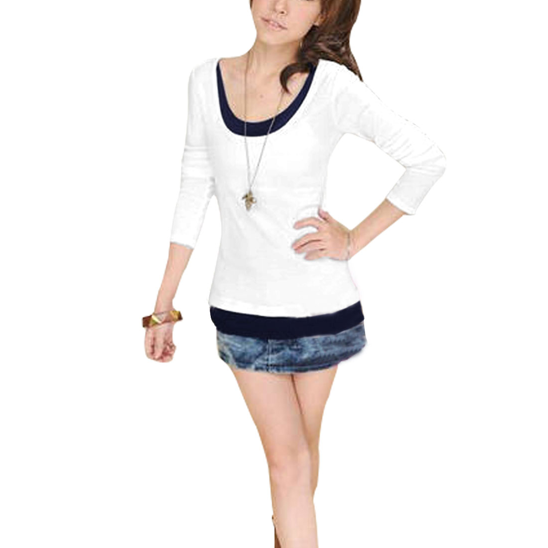 Ladies White Long Sleeves Pullover Stretchy Casual Tee Shirt XS