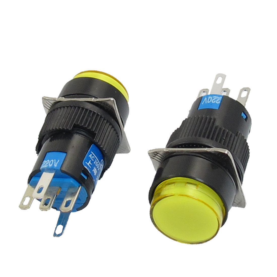 AC 220V Lamp SPDT Yellow Ignition Round Head Momentary Pushbutton Switch 2Pcs