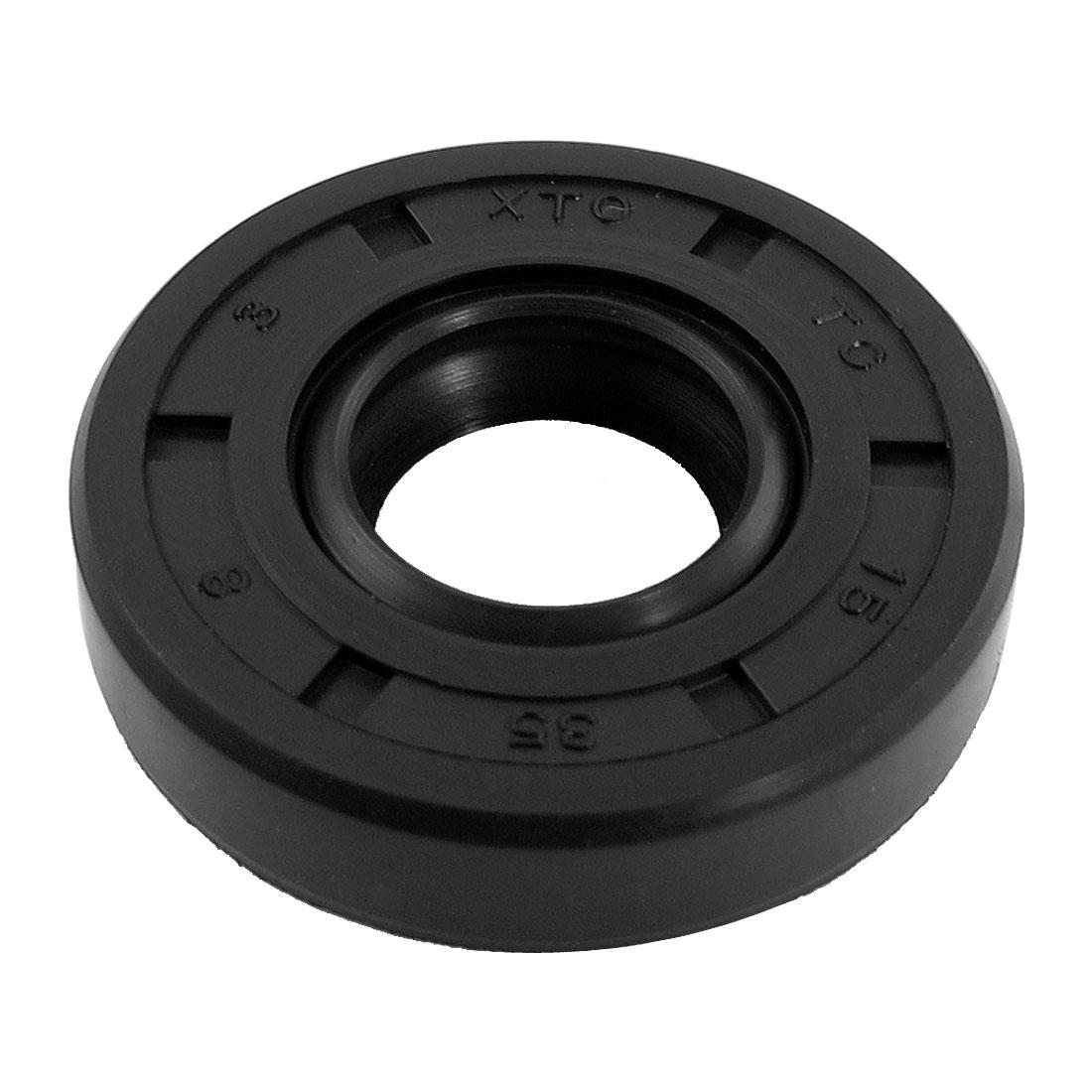 Black Nitrile Rubber Dual Lips Oil Shaft Seal TC 15mm x 35mm x 8mm