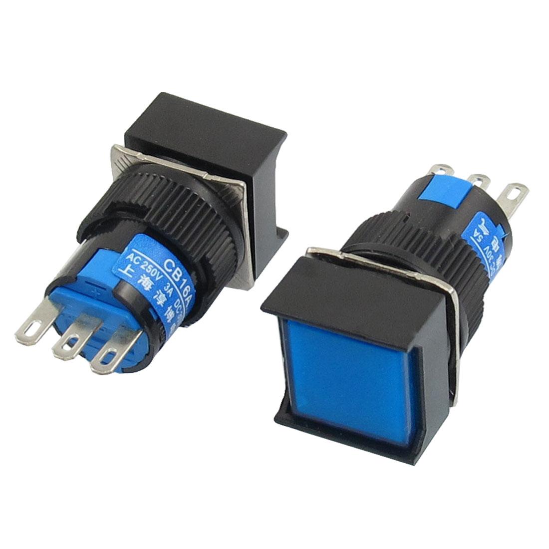 2 Pcs AC 250V 3A DC 30V 5A NO NC Blue Sign Square Latching Push Button Switch