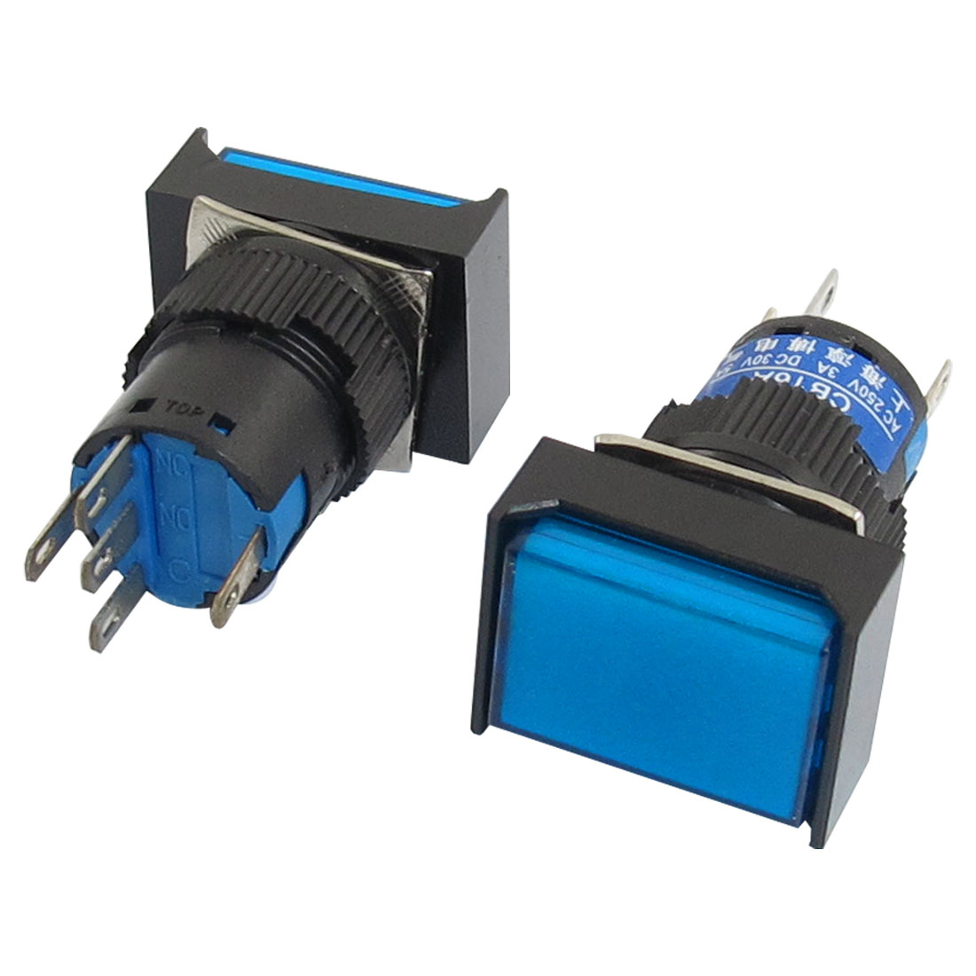 DC24V Lamp 1NO 1NC Momentary Blue Cap Rectangular Push Button Switch 2Pcs