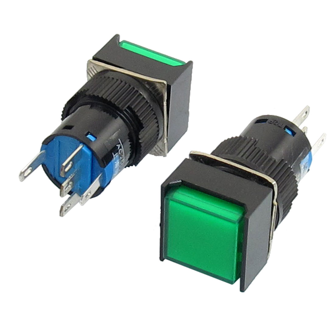 2Pcs AC 220V Lamp 5P SPDT Green Square Cap Momentary Push Button Switch