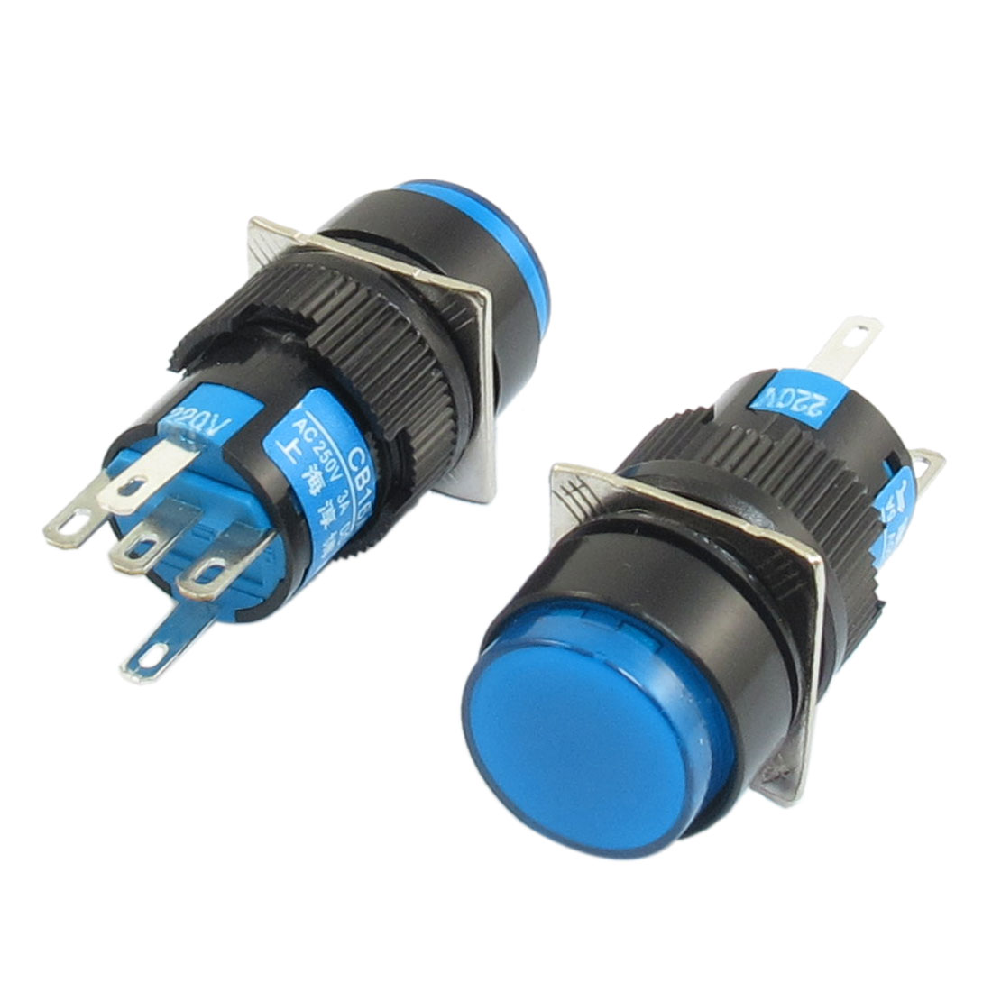AC 220V Lamp SPDT Blue Ignition Round Head Self-locking Pushbutton Switch 2Pcs
