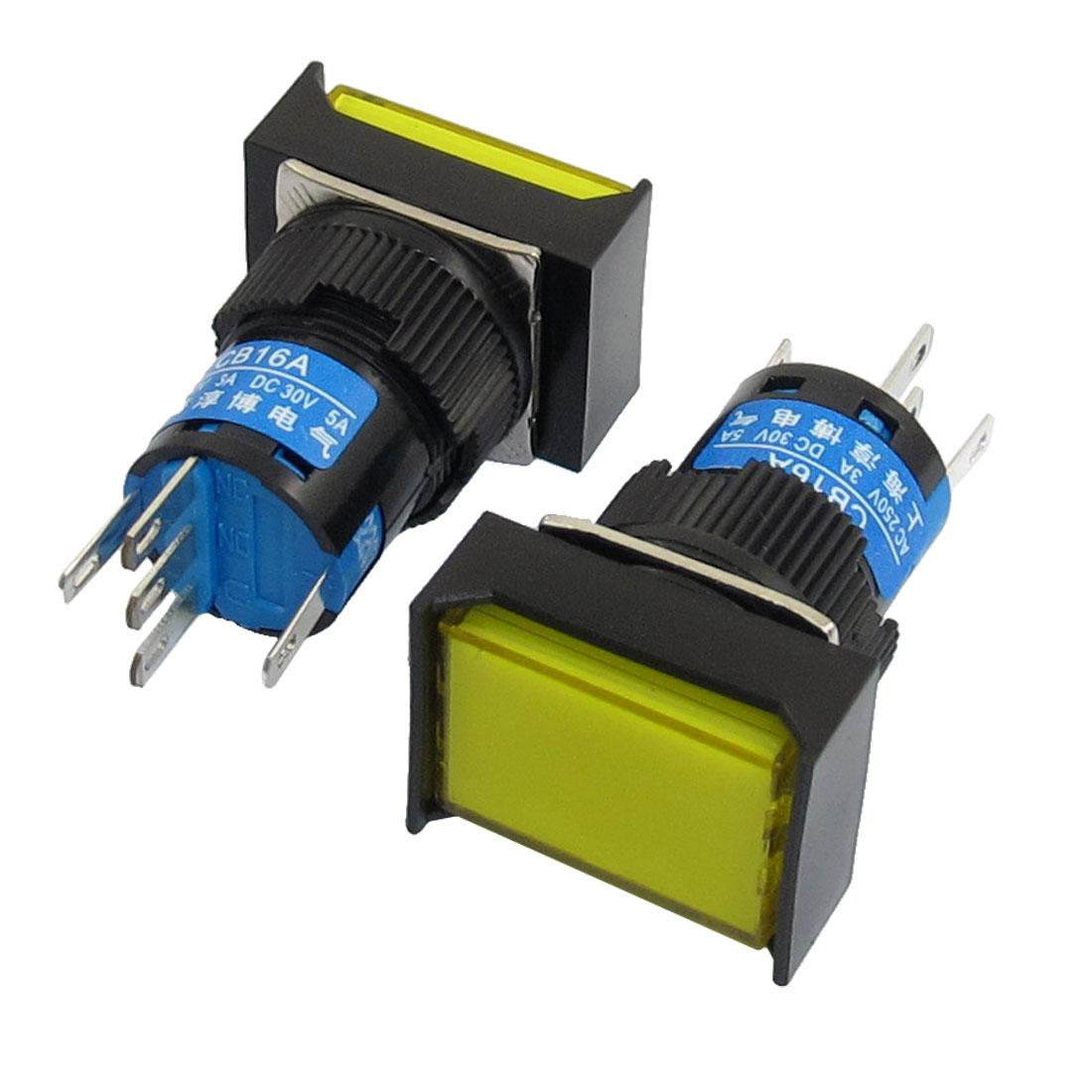 AC220V Lamp 1NO 1NC Latching Yellow Cap Rectangular Push Button Switch 2Pcs