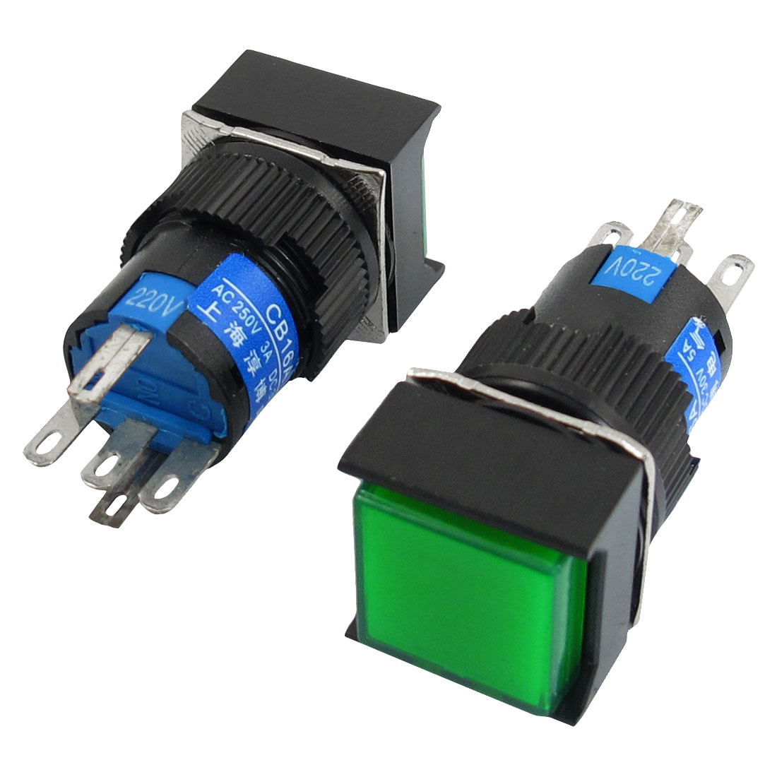 2 Pcs Green Sign Square Type Latching Push Button Switch 5P NO NC 220VAC Lamp