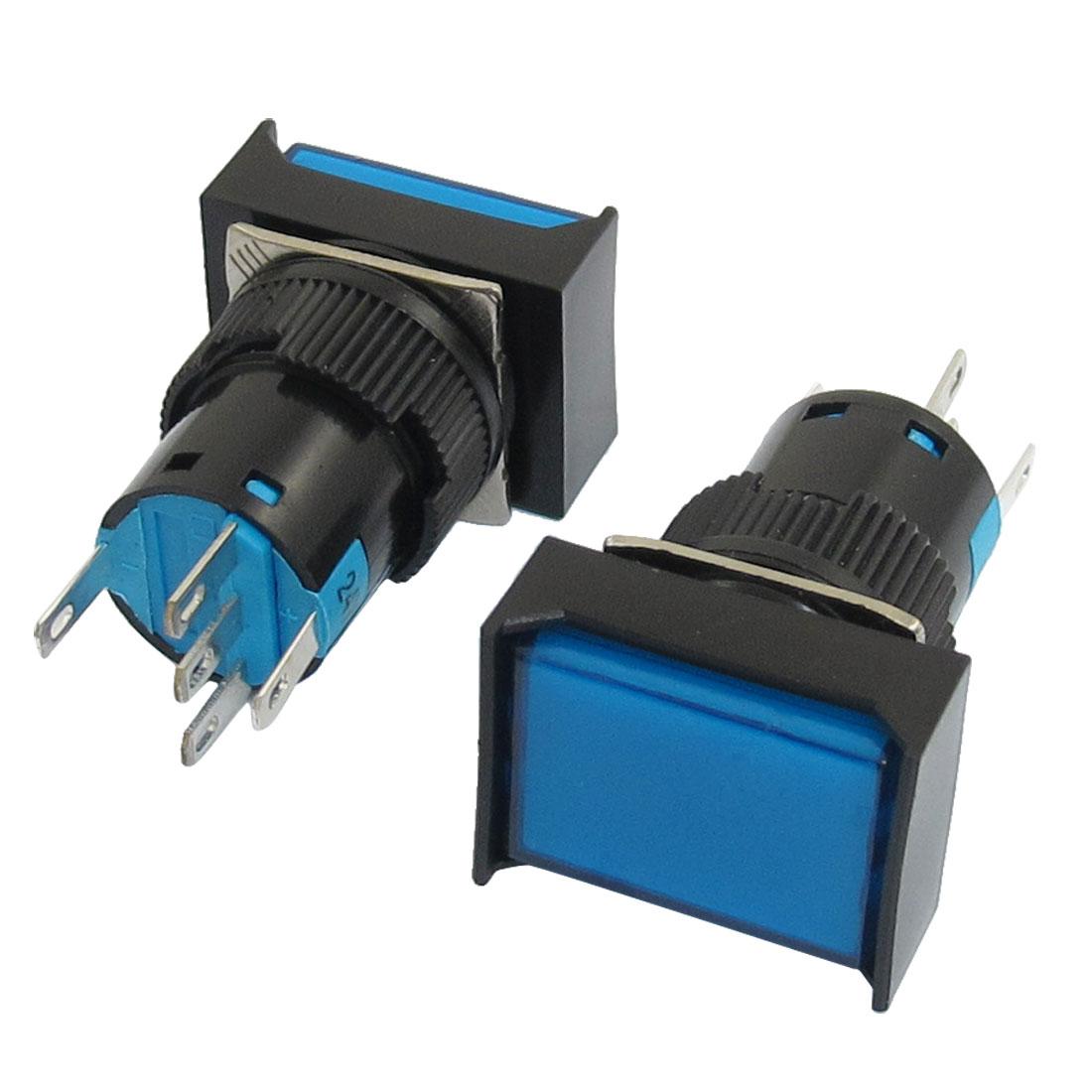 DC24V Lamp 1NO 1NC Latching Blue Cap Rectangular Push Button Switch 2Pcs