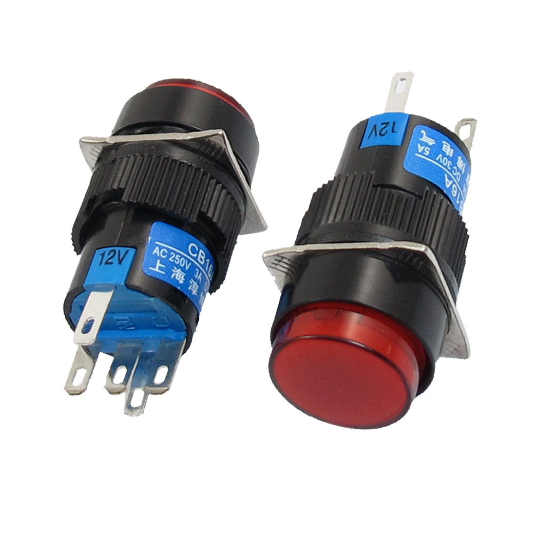 DC 12V Lamp SPDT Red Ignition Round Head Self-locking Pushbutton Switch 2Pcs
