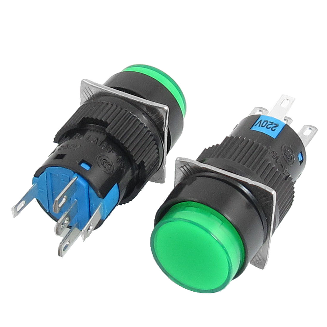 2Pcs AC 220V Lamp 5P SPDT Green Round Cap Momentary Push Button Switch
