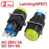 2 Pcs 3A/250V AC 5A/30V DC Yellow Sign Round Latching Pushbutton Switch NO NC 3P
