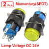 2 Pcs Yellow Sign Round Momentary Push Button Switch NO NC 5P 5 Pin 24V DC Lamp