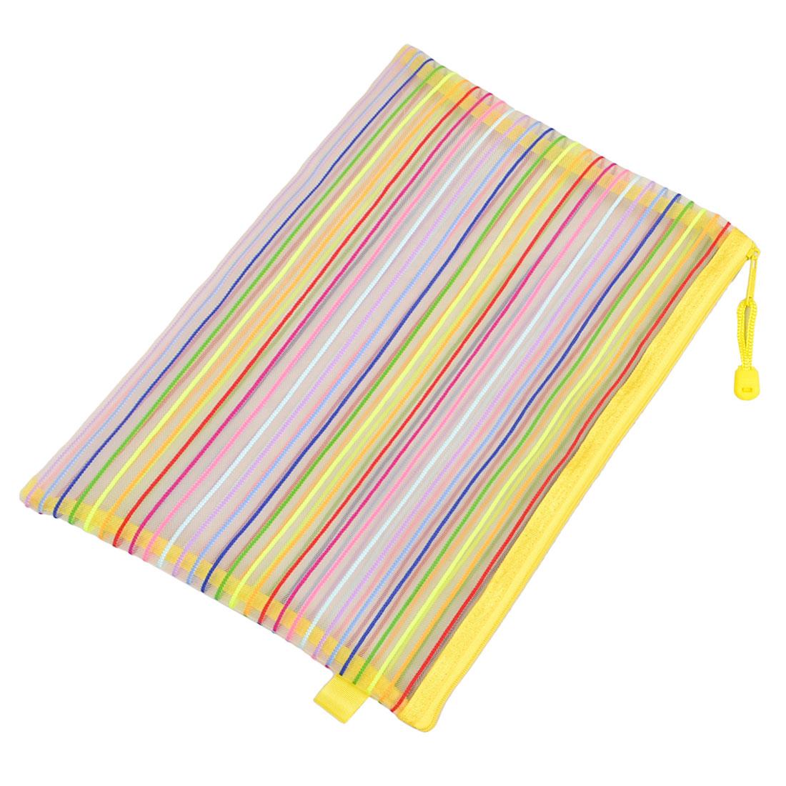 Zip up Nylon Mesh Multicolor Stripes A4 Paper Documents Pen File Bag Storage Folder