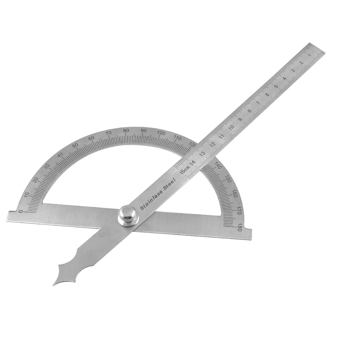 Gray Stainless Steel Rotating 180 Degree Mesurement Protractor Metric 15cm Ruler
