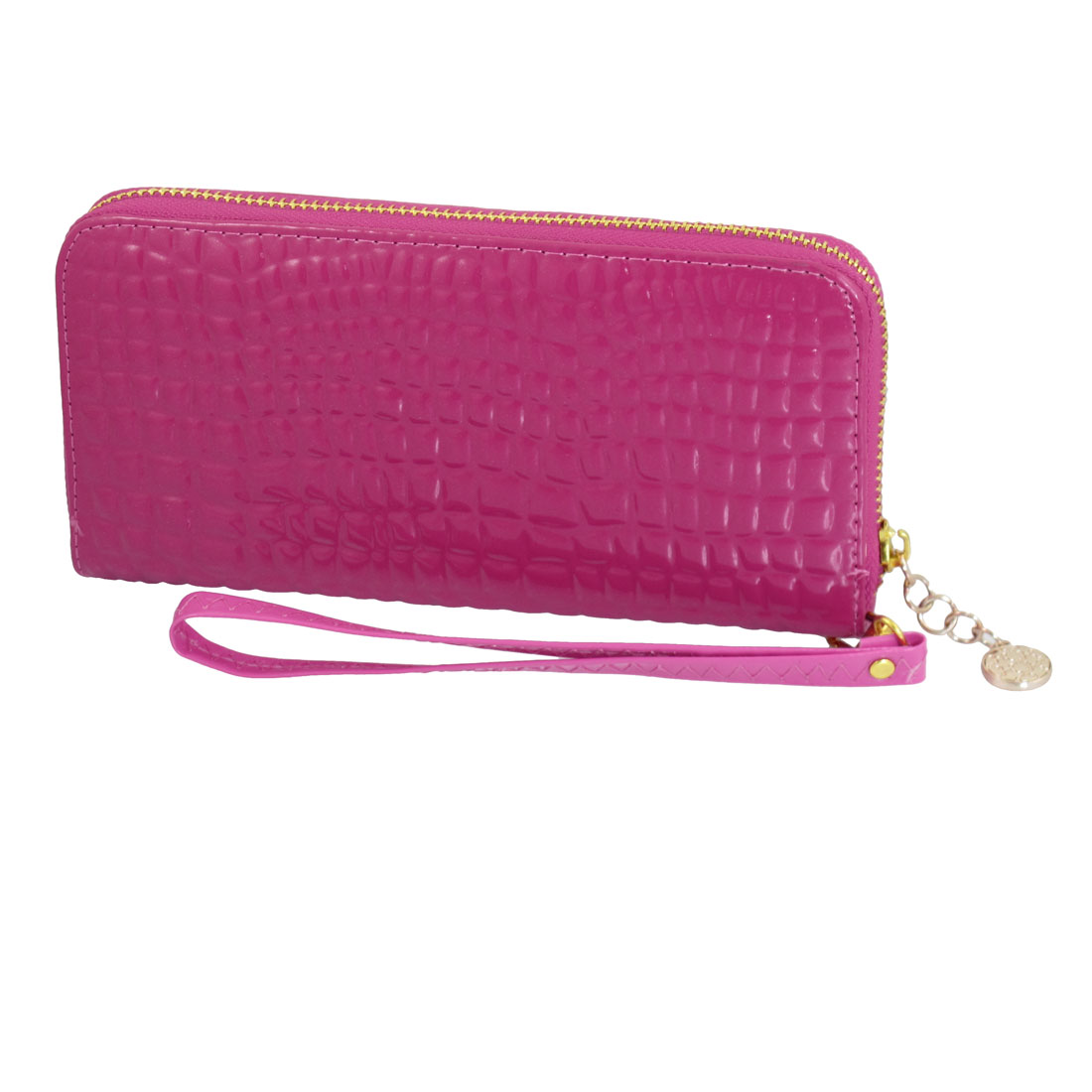 Fuchsia Crocodile Pattern Faux Leather 3 Compartments Zip Up Handbag Purse Wallet