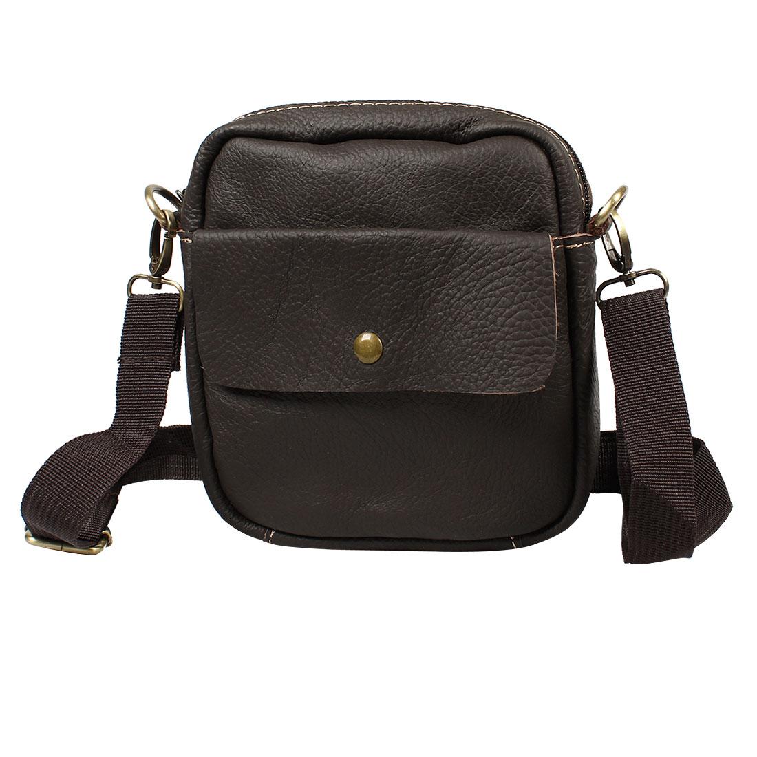Adjustable Shoulder Strap Coffee Color Faux Leather Zipper Bag for Lady Man