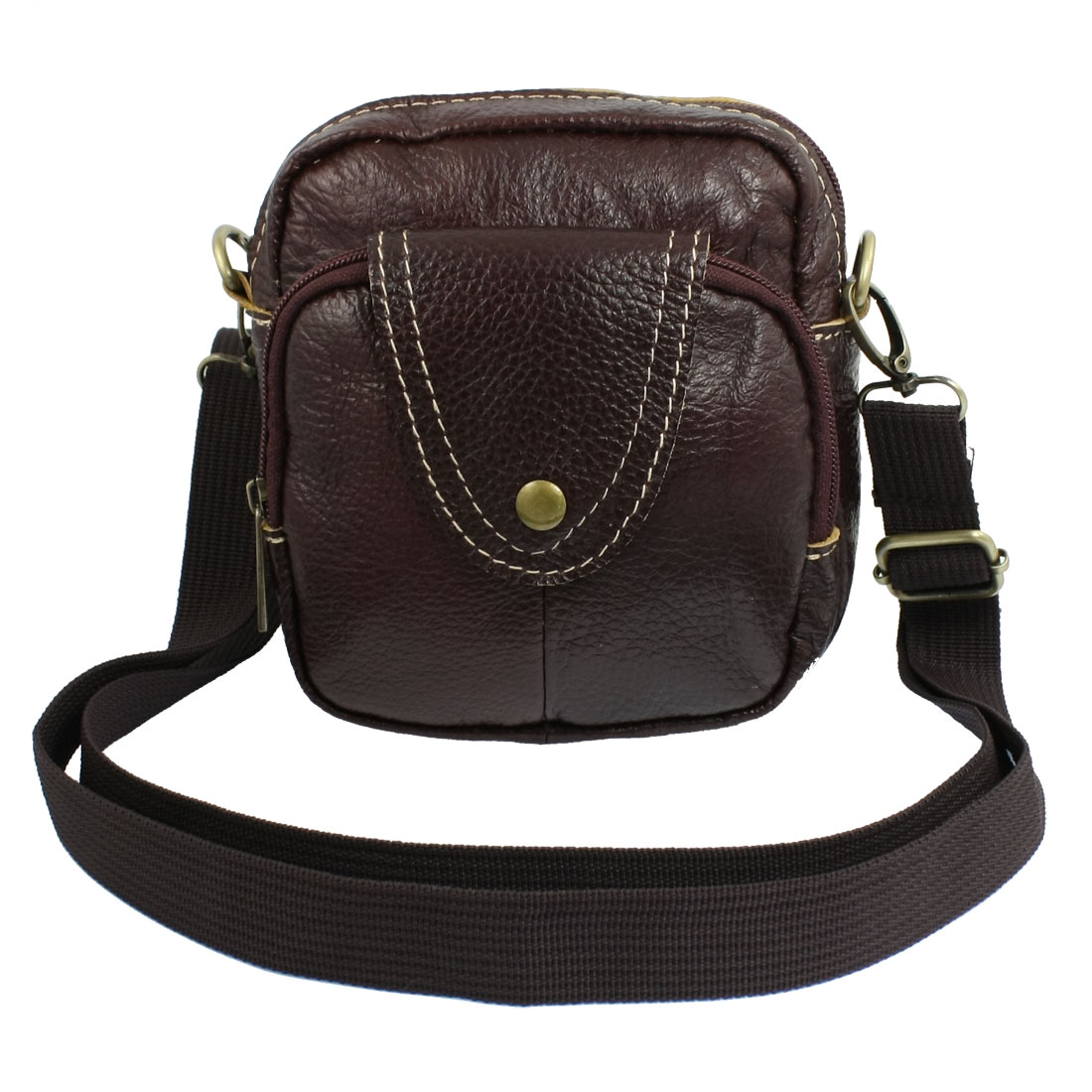 Adjustable Strap Eggplant Color Faux Leather Zip up Shoulder Bag for Lady