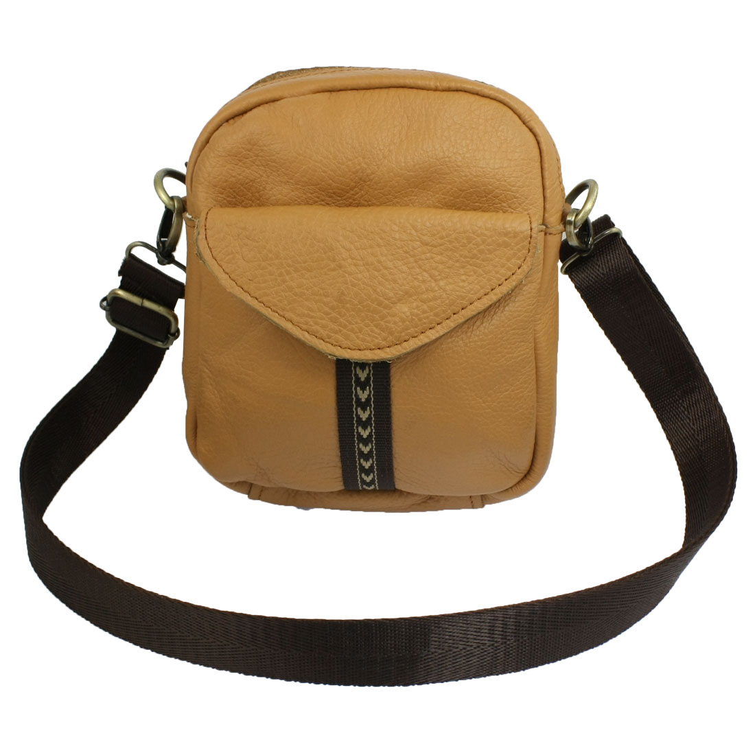 Adjustable Shoulder Strap Brown Faux Leather Zip up Bag for Ladies