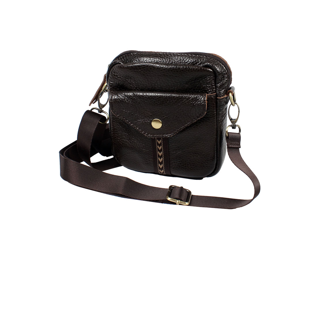 Unisex Adjustable Strap Litchi Pattern Coffee Color Faux Leather Zip up Shoulder Bag