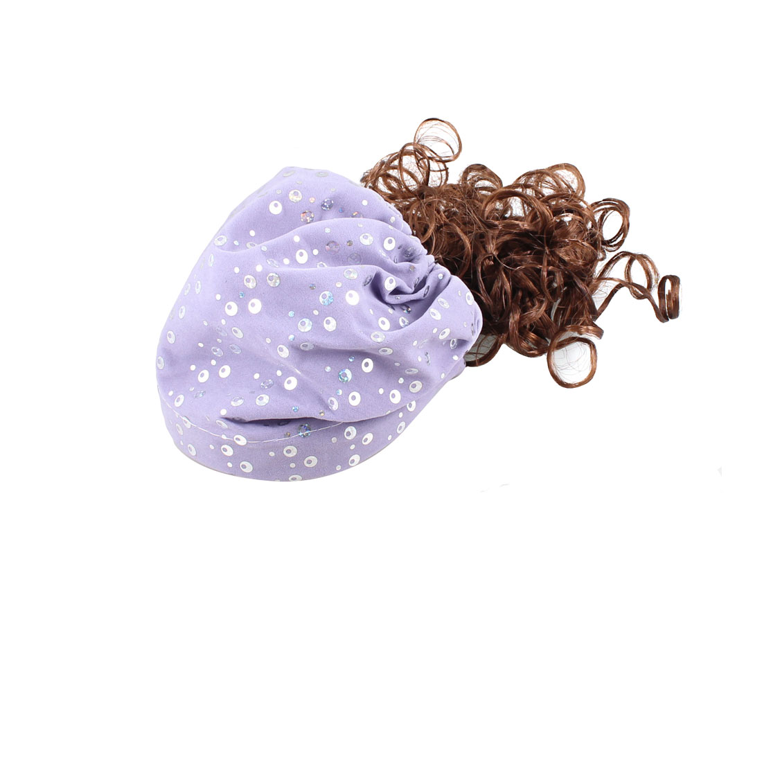 Light Purple Sequins Embellished Curly Hair Wig Hairpiece Hat for Girl