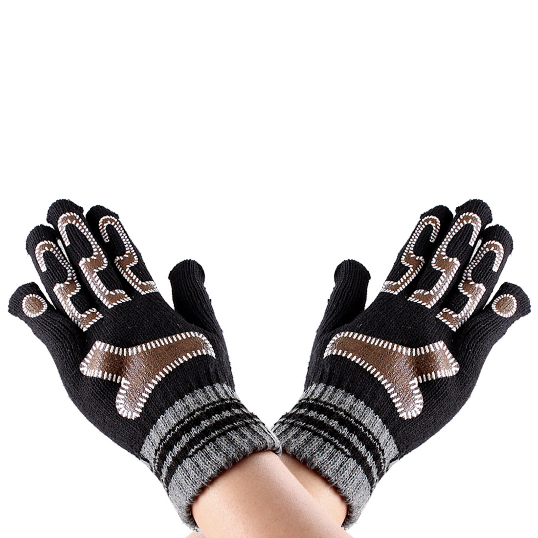 Men Women Pair Arabic Number 5 Pattern Full Fingers Winter Warm Gloves Black