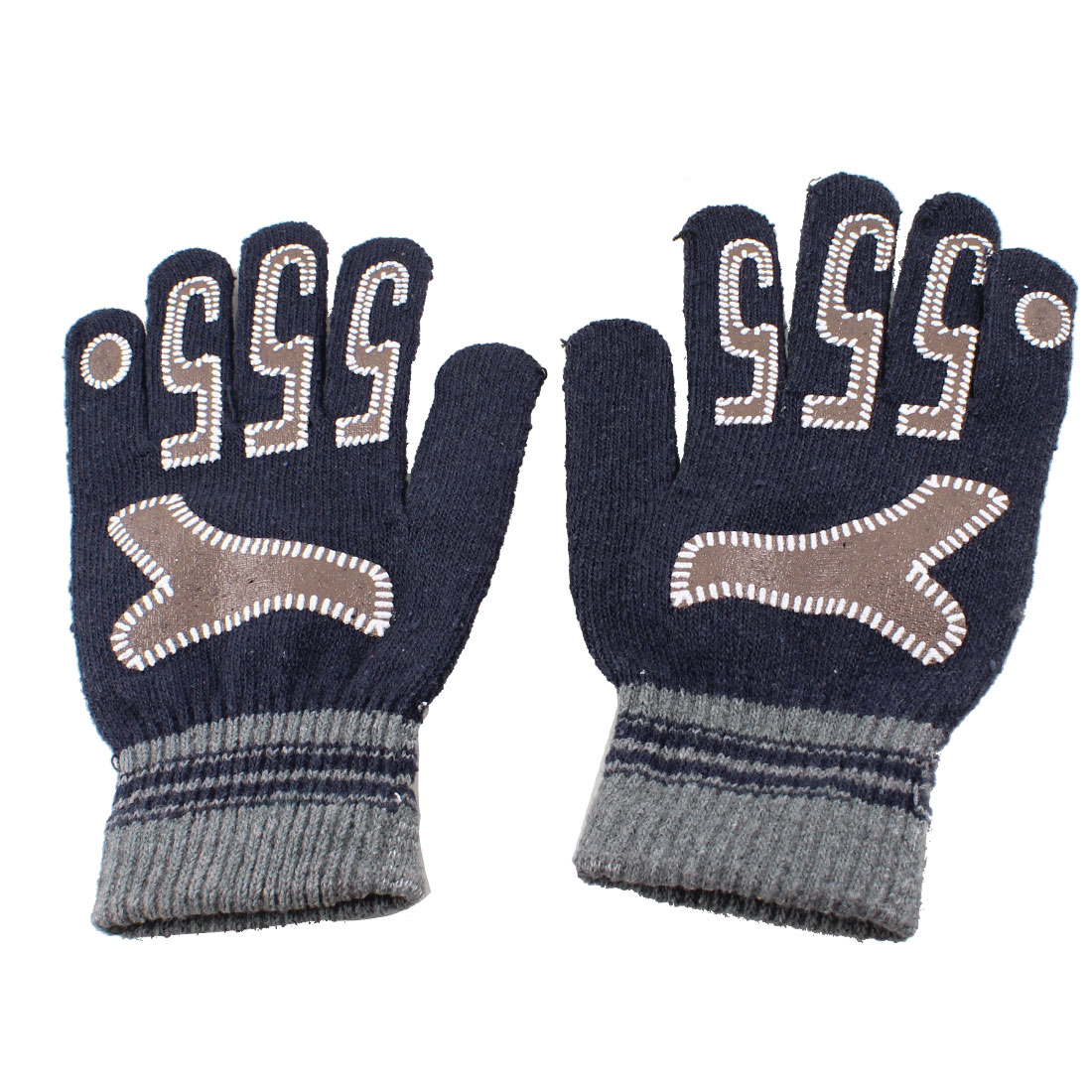 Men Women Pair Arabic Number 5 Pattern Full Fingers Winter Gloves Dark Blue