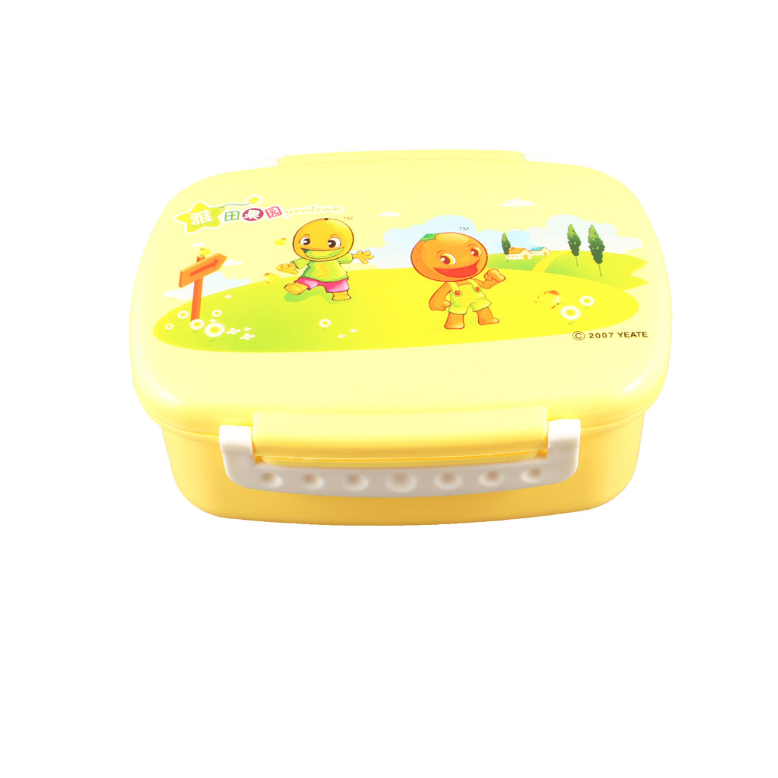 Traveling Cartoon Pattern Orange Plastic Food Container Lunch Box Case w Spoon