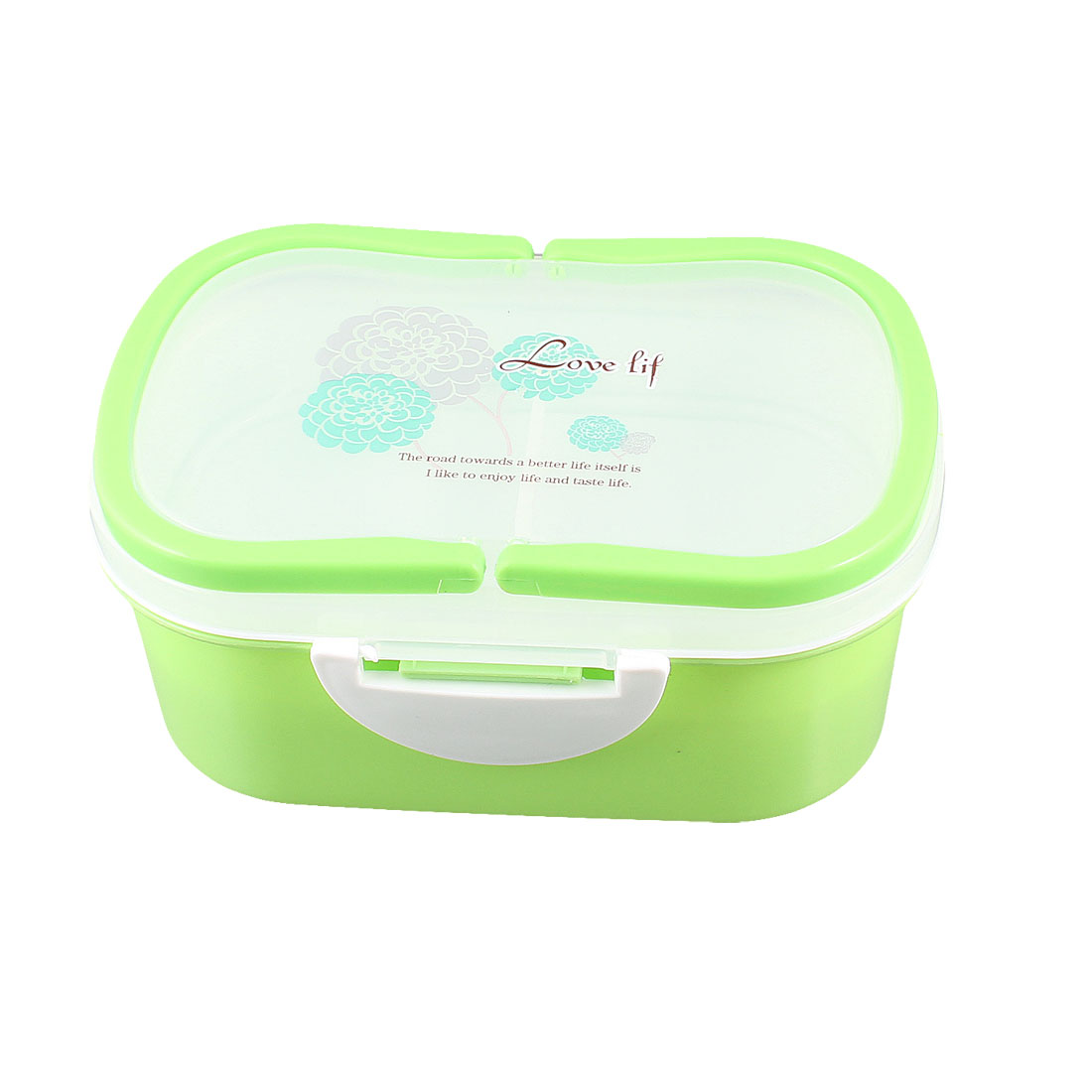Camping Picnic Floral Print Green 2-tier Food Container Lunch Box Case