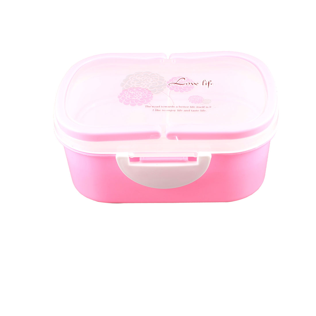 Flower Pattern Pink Plastic 2 Tiers Lunch Box Food Container w Spoon Fork