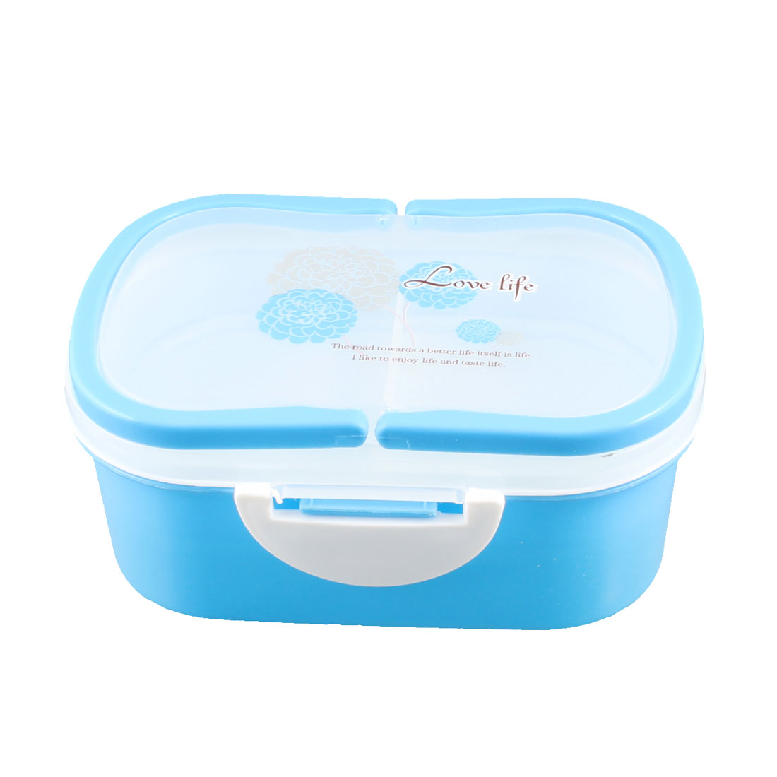 Camping Picnic Floral Print Blue 2-tier Food Container Lunch Box Case