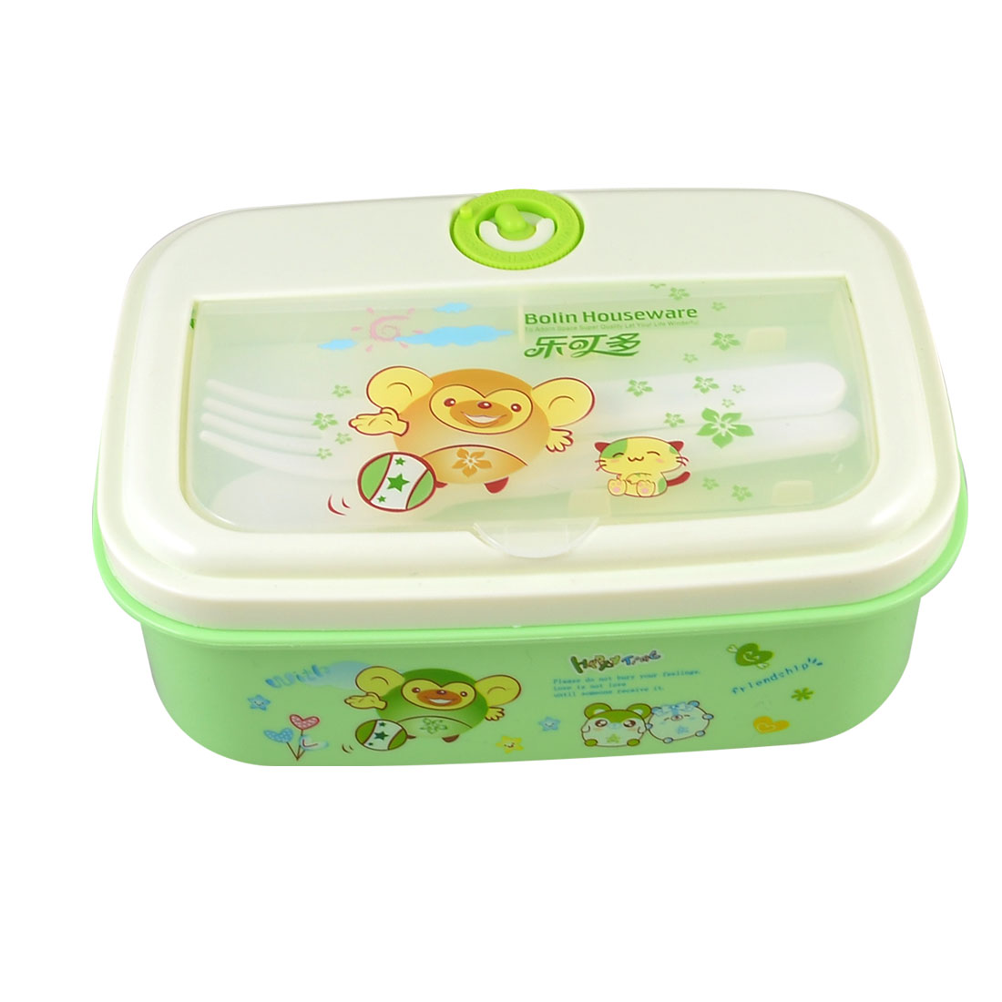 Picnic Cartoon Pattern Green Plastic Lunch Box Case Food Container w Spoon Fork