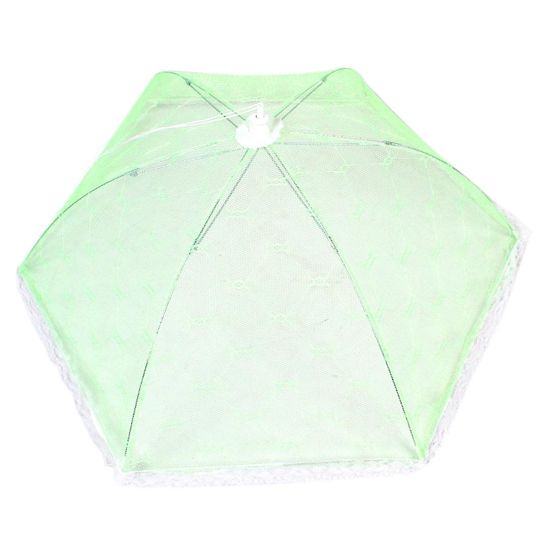 White Lace Trim Light Green Nylon Mesh Foldable Dish Food Cover Umbrella