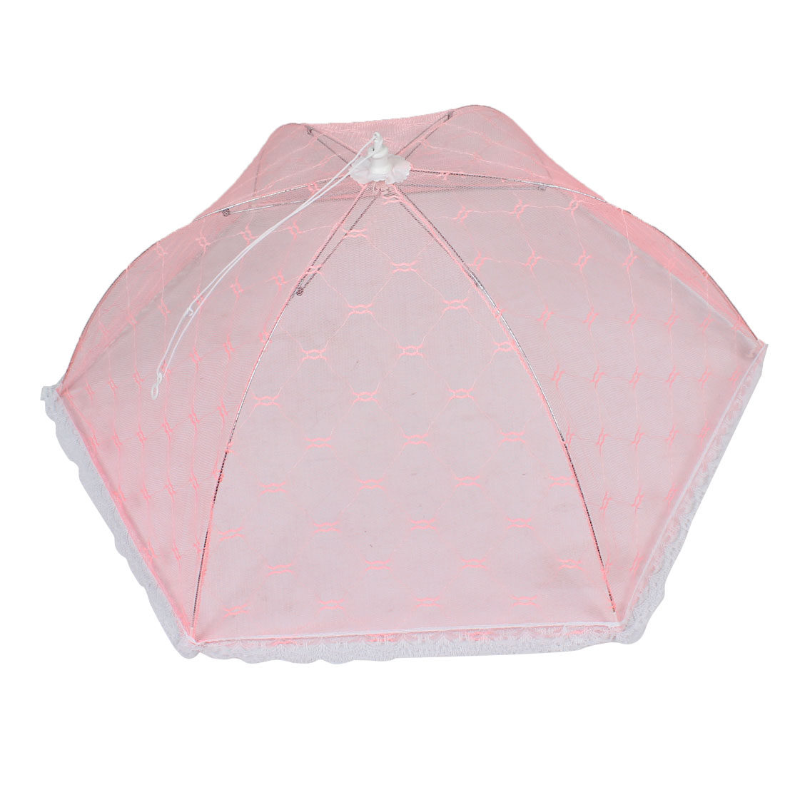 Home Kitchen White Lace Trim Foldable Pink Mesh Dish Food Cover Umbrella