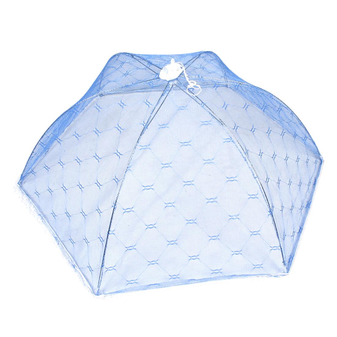 Household White Lace Trim Blue Nylon Mesh Foldable Dish Food Cover Umbrella