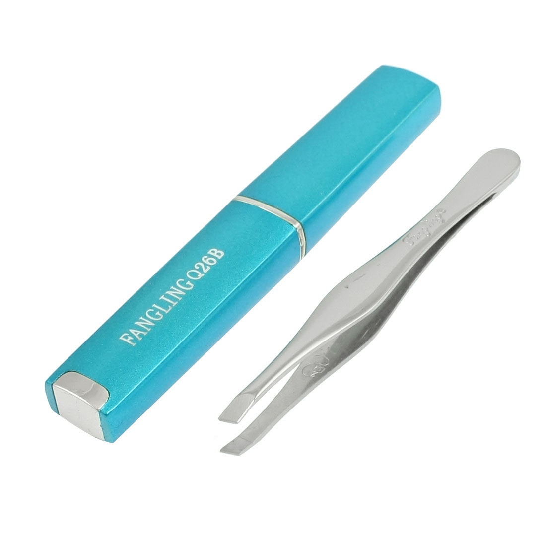 "3.4"" Long Eyebrow Tweezer Clip Cosmetic Tool w Blue Case for Ladies"
