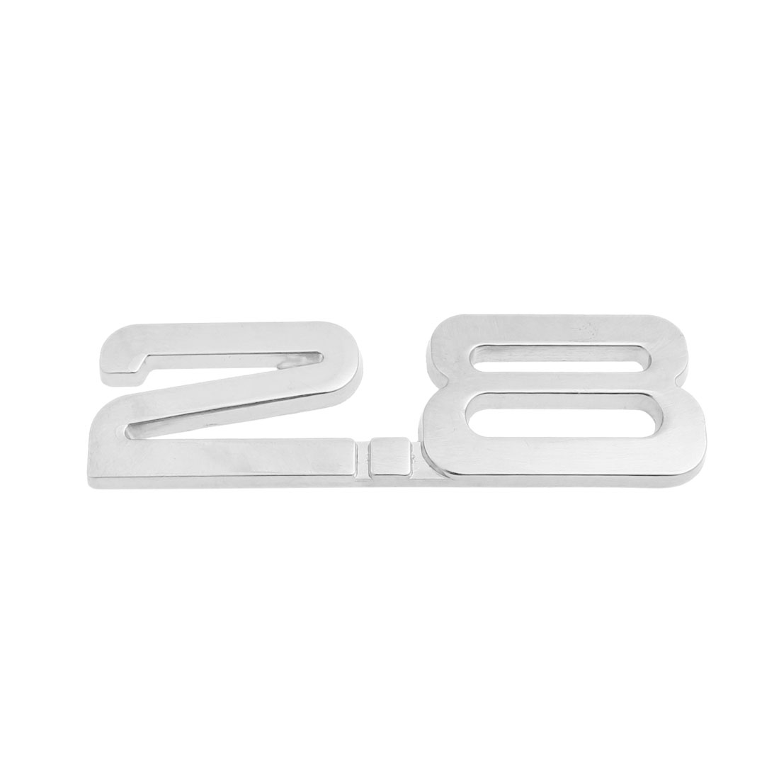 Silver Tone 2.8 Displacement 3D Adhesive Badge Sticker Decor for Auto Car