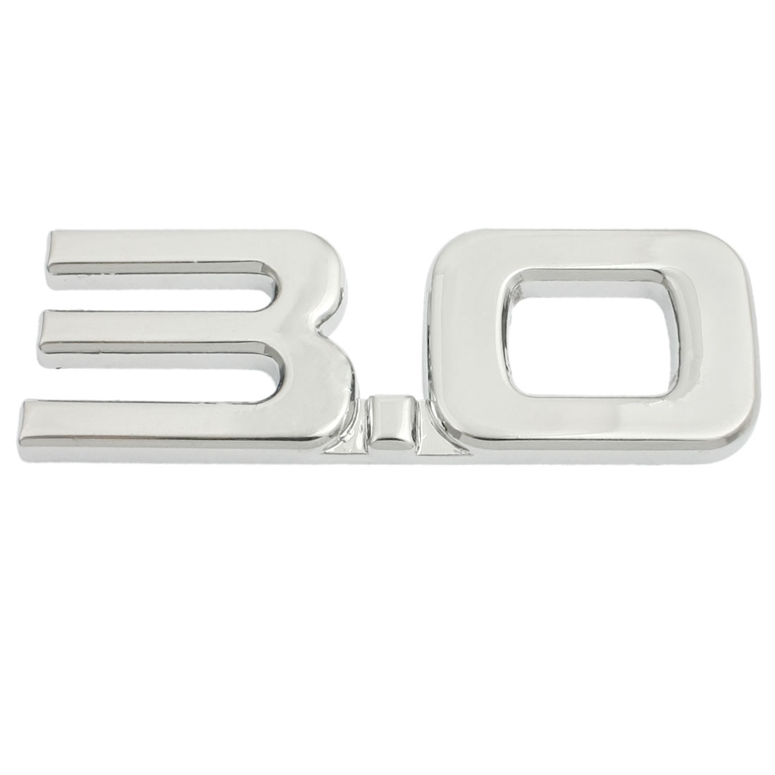 Vehicle Auto Decoration 3.0 Displacement Emblem Badge Sticker Silver Tone