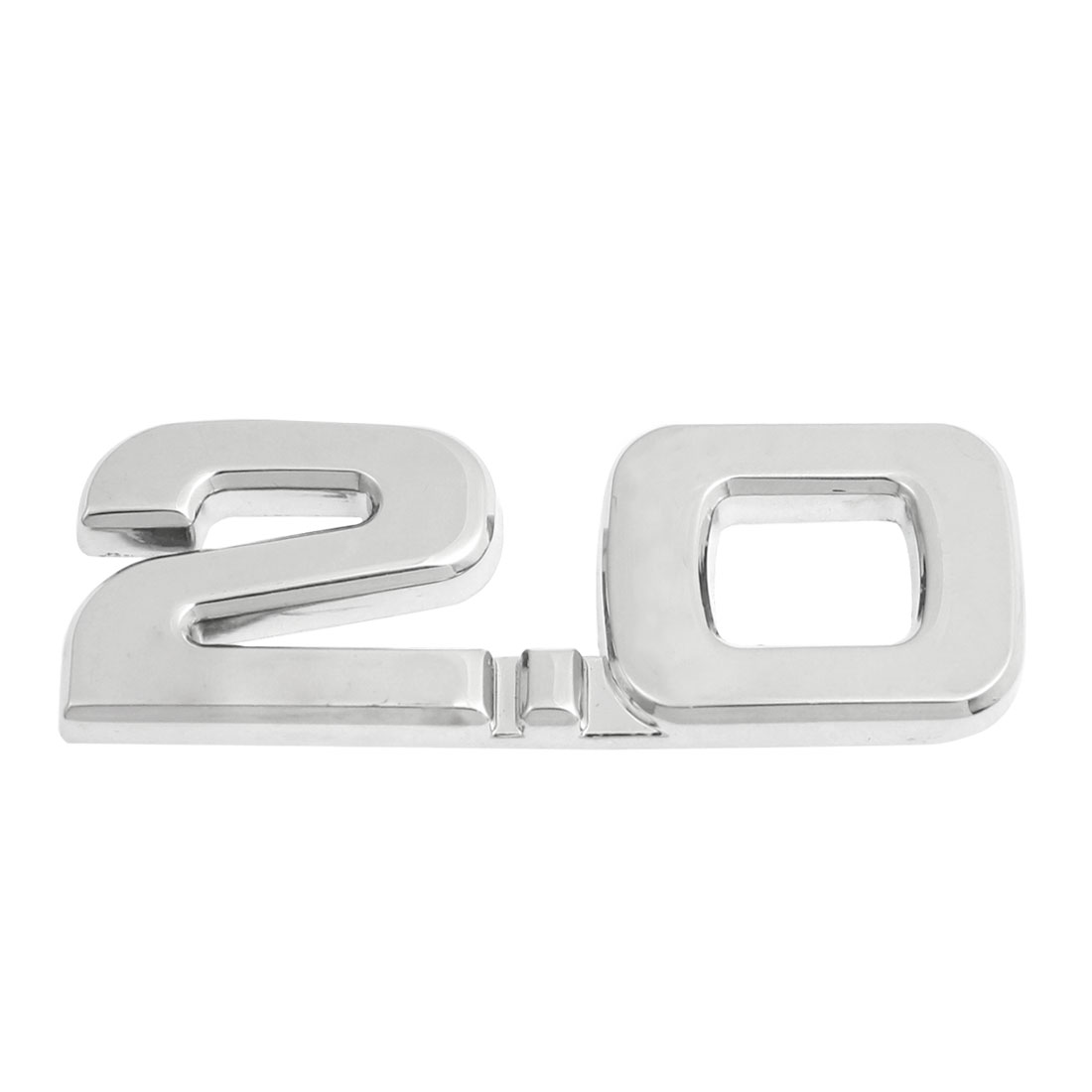 Car Autos Alloy 2.0 Decal Emblem 3D Badge Sticker Decoration Silver Tone