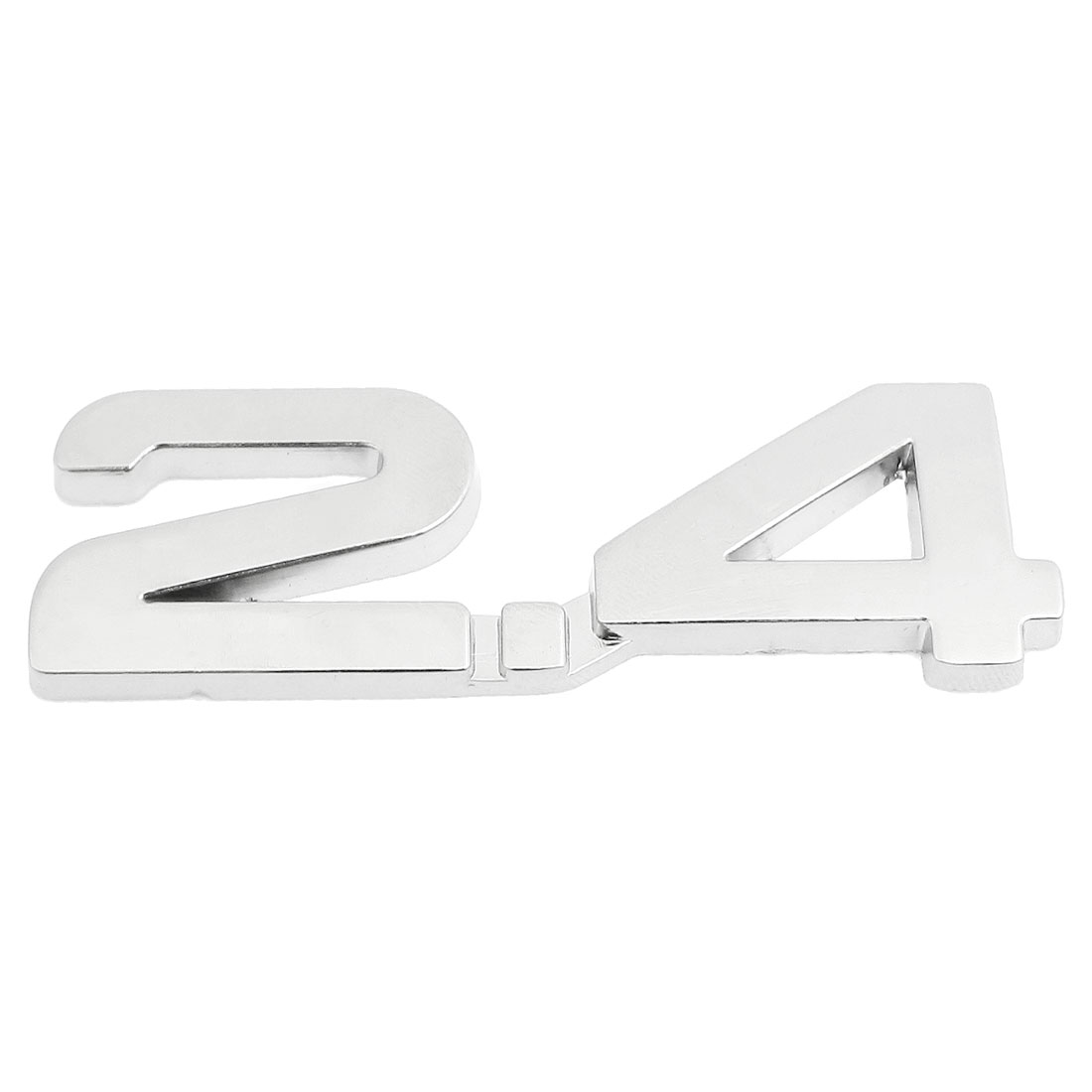 Car Autos Alloy 2.4 Decal Emblem 3D Badge Sticker Decor Silver Tone