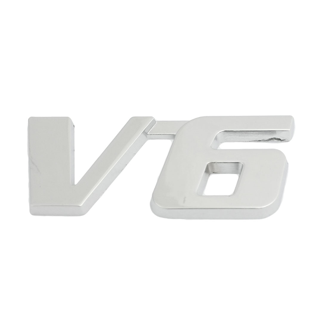 Silver Tone V6 Displacement 3D Adhesive Badge Sticker Decor for Vehicle Car