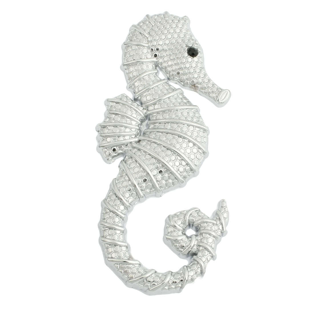 Silver Tone Metal Sea Horse Design 3D Sticker for Car Vehicle