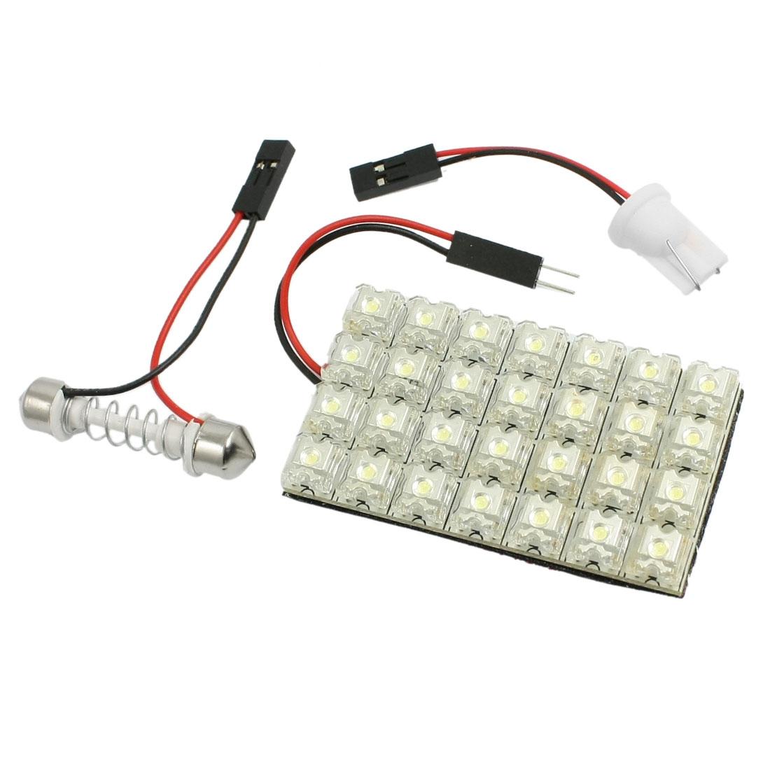 White 28 LED Flux Car Interior Room Festoon Dome Light Lamp + T10 Adapter