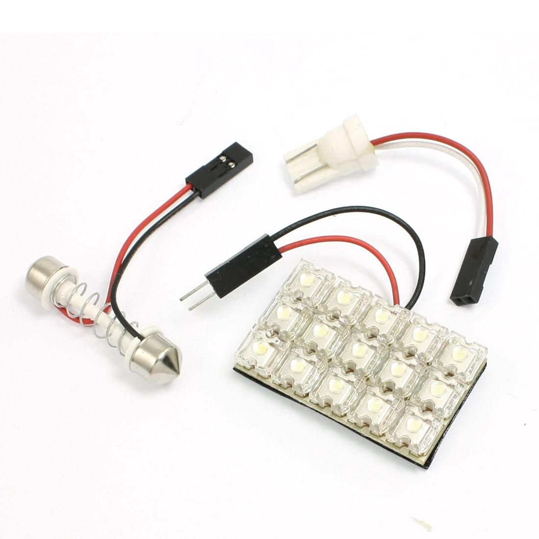 Vehicle Auto T10 Adapter + Light Panel 15 LED + Dome Festoon Bulb Lamp White