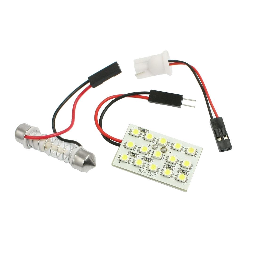 White 15 LED Panel 1210 SMD Dome Light Lamp Bulb + T10 Festoon Adapter