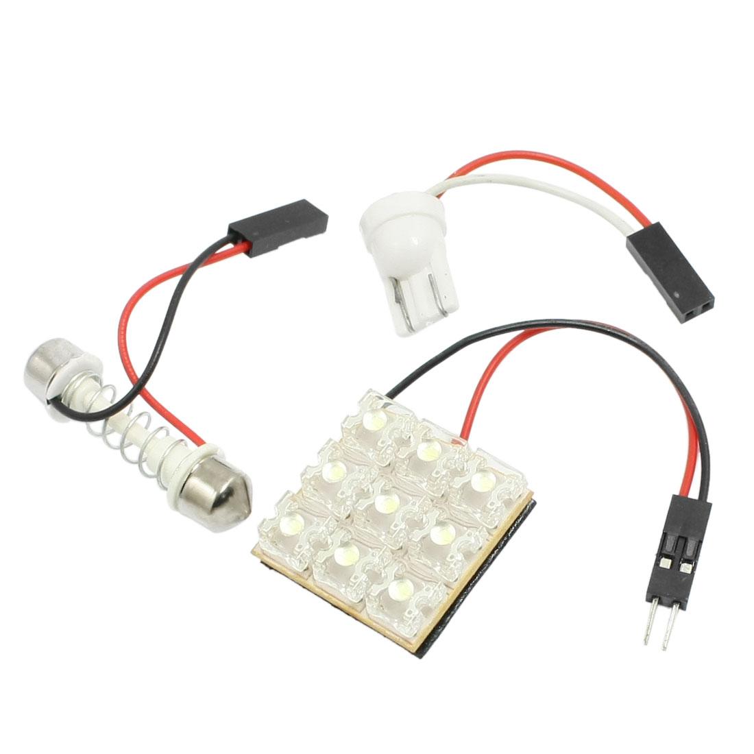 T10 Adapter + Light Panel 9 LED + Dome Festoon Bulb White for Vehicle Car