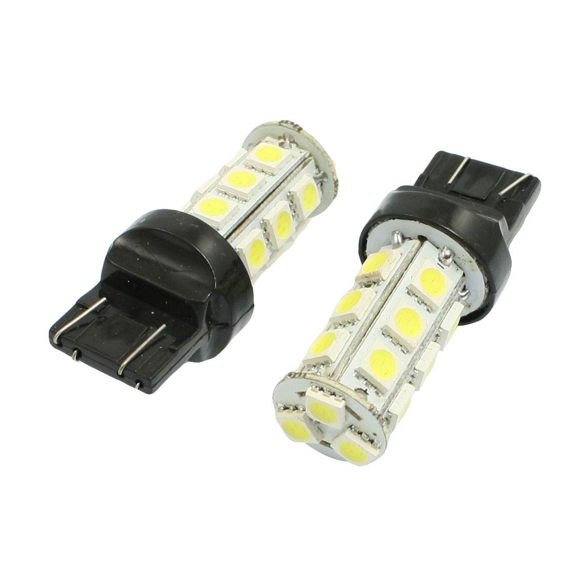 2pcs Car Vehicle T20 White 18 SMD LED Rear Turn Signal Light Bulbs