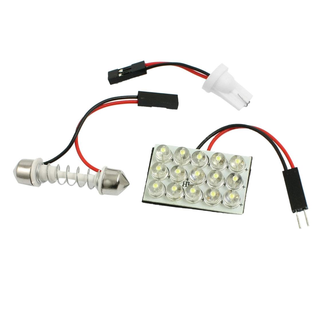 T10 Adapter + 29-41mm Festoon Bulbs 15 LED White Car Interior Dome Light