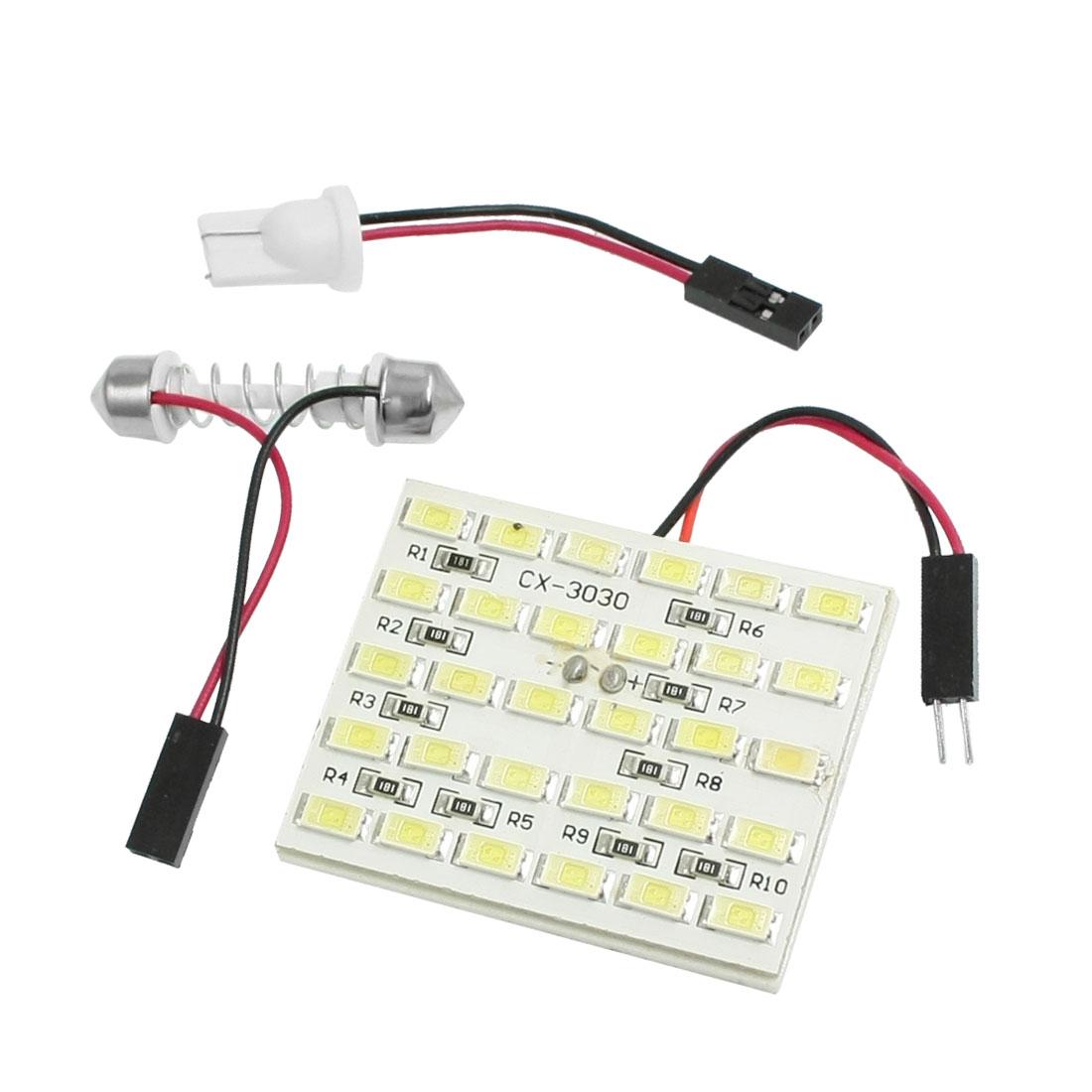 DC 12V White 30 LED Panel 5630 SMD Dome Light Lamp Bulb + T10 Festoon Adapter