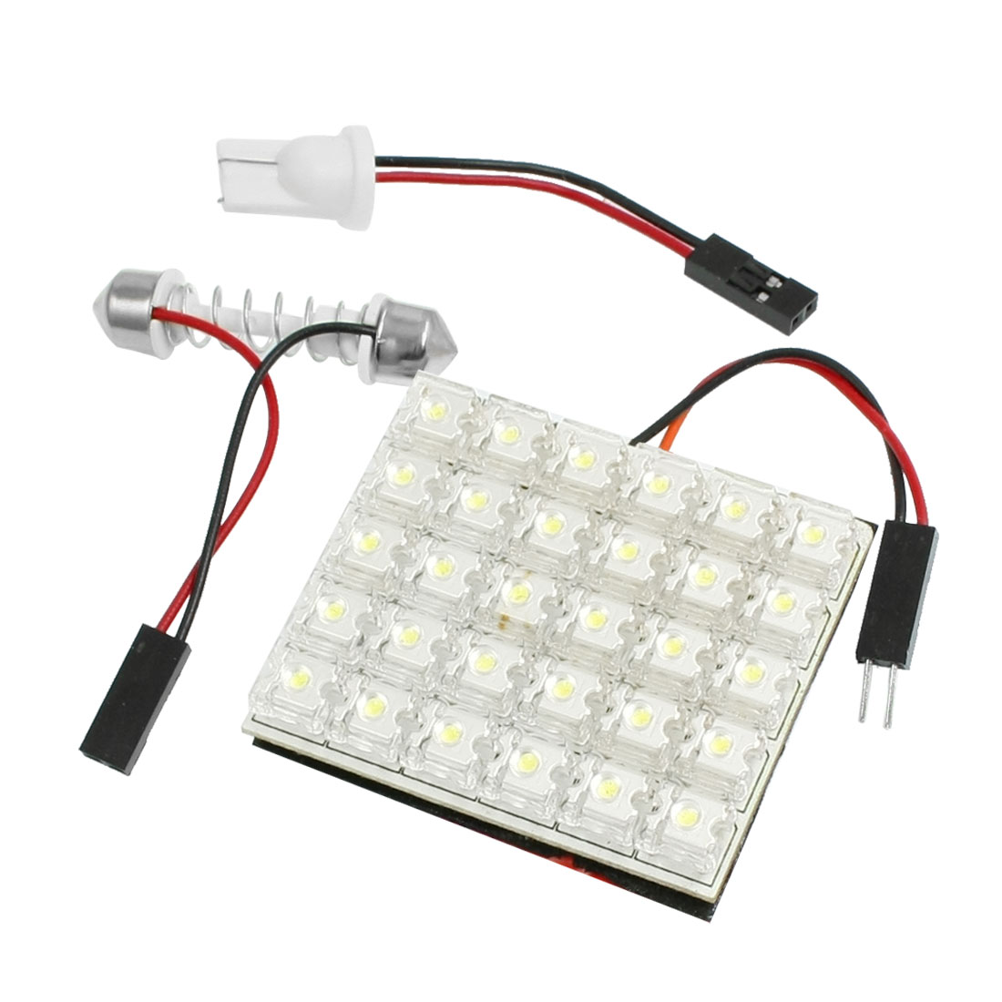 White Flux 30 LED Light Lamp + T10 Adpater + Festoon Base for Vehicle Truck